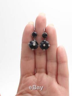 Old Sleepers Earrings Earrings In Silver And Jet Napoleon III