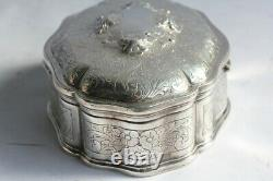 Old Solid Silver Jewelry Box (50099)