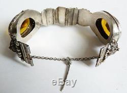 Old Solid Silver Rigid Bracelet + Yellow Stones Etnique Silver