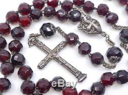 Old Solid Silver Rosary Beads And Red Garnets XIX