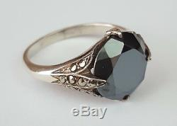 Old Sterling Silver Hematite Ring Size 55/56 Antique Silver Silber Ring