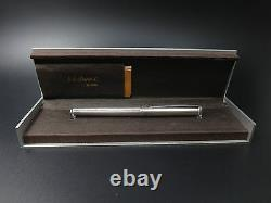 Old Vintage St Dupont Pen In Solid Silver 18k Gold Feather In Its Case