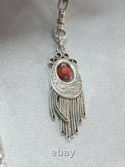 Old Watch Chain Gousset Silver Massif Corail Jewelry Silver Jewel Chain