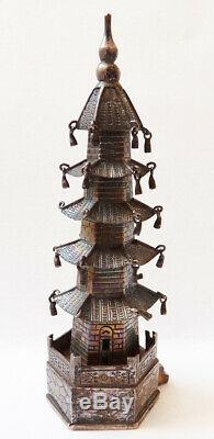 Pagoda Old Miniature Silver Massive Silver Statuette China Singfat
