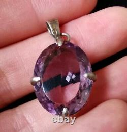 Pendant Old Vermeil Solid Silver Gold Plated With Natural Amethyst