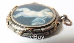 Pendant Silver Medallion + Or + Angel Miniature Gem Former 18th Century