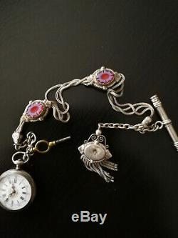 Pretty Woman Watch Pocket Money End With His Key Chain And Old Enamelled