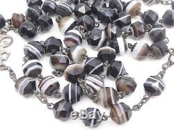 Rare Ancient Beads In Silver And Agate Banded XIX