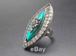Rare Large Marquise Ring Ancient Rhinestone Silver Massive Nineteenth T54