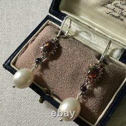 Rare Old Black Opal Earrings, Orange Sapphire, Pearl, Silver