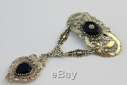 Rare Old Regional Jewel In Sterling Silver Vermeil And Onyx Heart Pendant