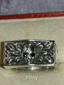 Rare Old Ring A Secret Vanite Eyes Sapphire Size 59/60 Silver 925