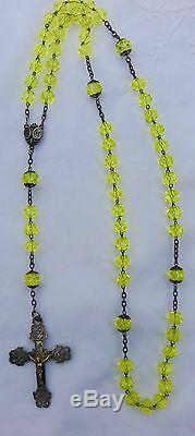Rare Old Rosary And Silver Beads Faceted Ouraline- Rosary