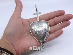 Rare Reliquary Pendant Sacred Heart Former Nineteenth Silver