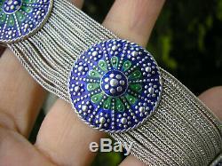 Rare! Superb Old Bracelet In Solid Silver And Enamel 65 Gr
