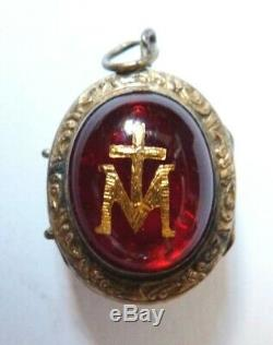 Reliquary Pendant Silver Former 19th Century Reliquary Virgin Holy Cross