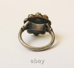 Ring In Silver And Stone Garnet Red Jewel Former 19th Century Silver Ring