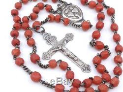 Rosary Old Solid Silver And Red Coral Beads XIX