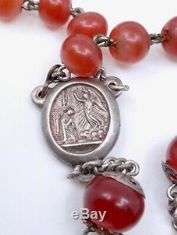 Rosary Old Solid Silver Beads And Molten Glass Reliquary Cross XIX