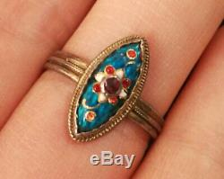 Ruddy Old Ring In Silver And Enamels Bresse 19th Regional Jewel