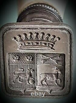 Seal Stamp / Arms / Crown. Old Silver Punch. Count XVIII Century
