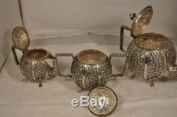 Service The Old Solid Silver Antique Sterling Silver Tea Set Chinese Ottoman
