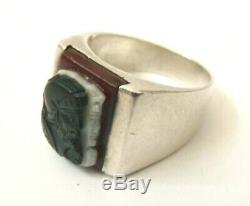 Signet Ring Silver And Agate Cameo 3 Layers Former Bijou Silver Ring