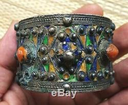 Silver Bracelet Old Coral Email Morocco Moroccan Berber Antique Silver Bangle