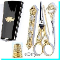 Silver Gilt Gold Old Sewing Kit Scissors Marquetry Cabinet Case