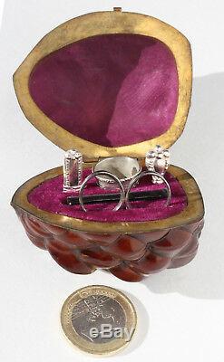 Silver Old Required Miniature Sewing Scissors Walnut Walnut Sewing Box