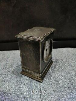 Small Old Clock Of Travel By Sterling Silver House Gustave Keller