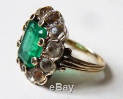 Solid Old Gold Ring 18k + Silver + Green Stone Jewel Old Gold Ring