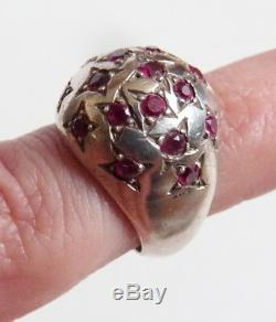 Solid Silver And Ruby star Sign Ring Star Dome Art Deco Ring