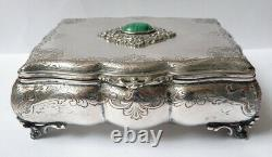 Solid Silver Jewellery Box - Vermeil - Old Silver Box Malachite