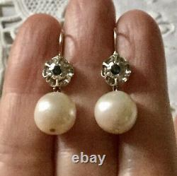 Splendid Ancient Earrings Doreilles Huge Pearl Gold And Massive Silver
