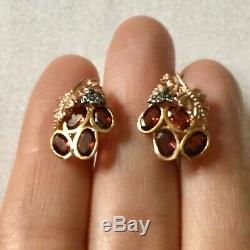 Splendid Art Deco Old Doreilles Earrings 14k Rose Gold Silver Garnets