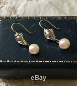 Splendid Earrings Doreilles Old Gold, Silver, Diamond, Pearl Baroque