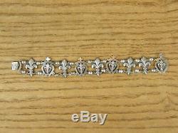 Sterling Silver Fleur De Lys Bracelet Ancient Silver Silber