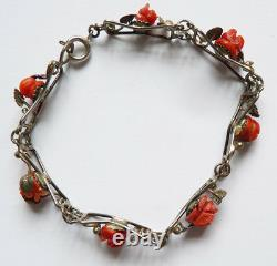 Strap Old Solid Silver And Coral Coral Silver Bracelet 1900 Corallo