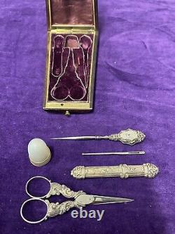 Stunning And Old Necessary Silver Couture In His Noble Wood Box