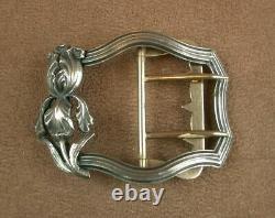 Stunning Old Art Nouveau Belt Buckle Made Of Massive Silver Decor Iris