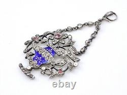 Stunning Old Pendant In Solid Silver Email And Marcassites 19th Century Flower Vase