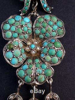 Stunning Old Sterling Silver Pendant And Cabochons Of Turquoise Flower Thought