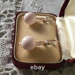 Sublime Ancient Loops Coral Earrings Rose Pearl Fine Gold And Massive Silver