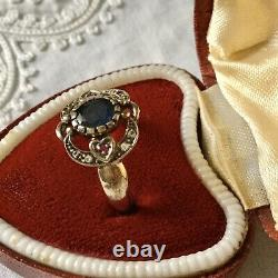 Sublime Ancient Ring In Massive Silver, Natural Sapphire, Ruby And Acute- Marines