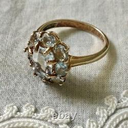 Sublime Ancient Ring Vermeil, Silver, Beautiful Blue Topaz Scintillating