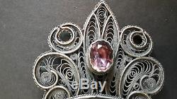 Sublime Big Old Belt Buckle Silver, Amethysts And Citrines