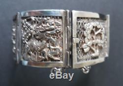 Sublime Bracelet Antique Silver Solid Asian Motifs Nineteenth Time