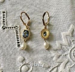 Sublime Old Earrings Blue Topaze Pearl Vermeil Silver
