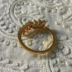 Sublime Old Ring Art Deco Grenat Rose, Gold 14k Silver Massive